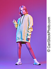blonde in ultramarine light
