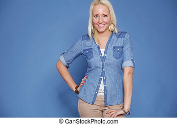 blonde isolated casual wear - Attractive blonde woman in...
