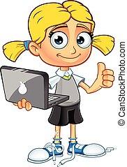 blonde, karakter, schoolmeisjes