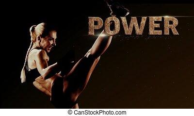 Blonde kickboxer is training to strike. Computer graphics,...
