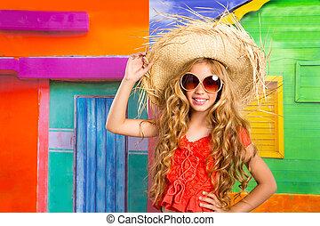 blonde , kinderen, vrolijke , toerist, meisje, strand hoed, en, zonnebrillen