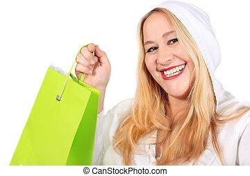 Blonde lady shopper