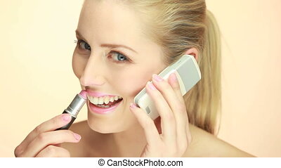 Blonde Lady Using Mobile Phone