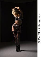 Blonde Lingerie Model