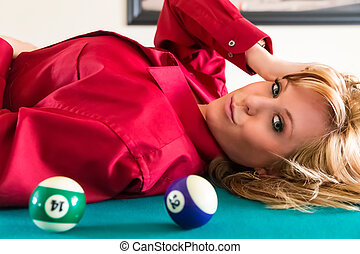 Blonde Lingerie Model on Pool Table - A sexy blonde model...