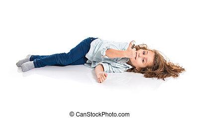 Blonde little girl on the floor