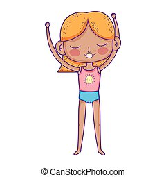 blonde little girl with sport clothes cartoon character