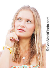 Blonde looks up forefinger at cheek