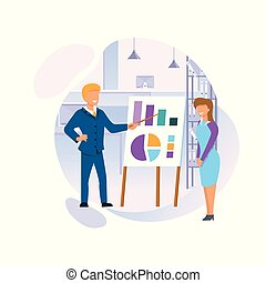 Blonde Man and Young Woman Stand at Chart Board