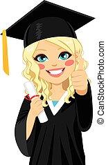 blonde, meisje, afgestudeerd