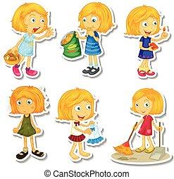 blonde , meisje, doen, anders, activiteiten