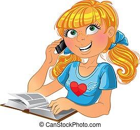 blonde , meisje, en, telefoon, en, boek