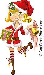 blonde , meisje, in, kostuum santa, met, klok