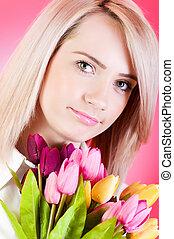 blonde , meisje, met, bloemen