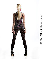Gorgeous blonde model posing in mini dress