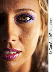 Blonde Model Headshot - Close up photo of a blonde model in...