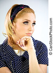 Blonde model thinking