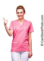 nurse showing ok sign