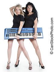 blonde, og, brunette, hos, elektriskt piano
