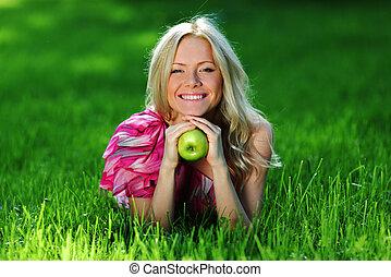 blonde on green grass