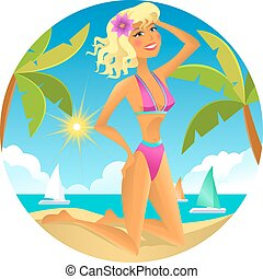 Blonde on the beach. Vector illustration.