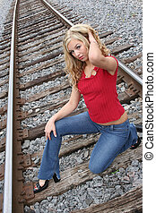 Blonde on the tracks - Hot blonde on the tracks