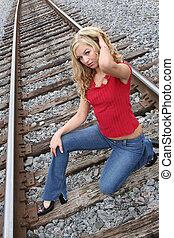 Blonde on the tracks - Hot blonde on the tracks