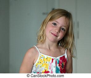 blonde, oud, abstract, zes, achtergrond, jaar, het glimlachen van het meisje