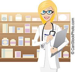 Blonde pharmacist - Illustration of female pharmacist is ...
