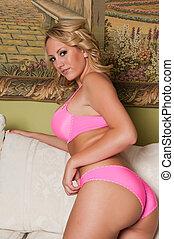 Blonde - Beautiful curvy blonde dressed in pink lingerie