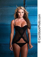 Blonde - Beautiful curvy blonde dressed in black lingerie