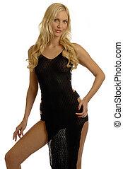 blonde, pige, ind, jævne klæd