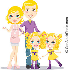 Blonde posh parents with twin daughters happily smiling together looking at front