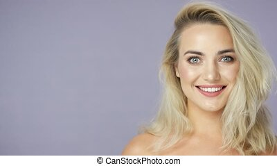 Blonde positive young woman - Headshot of positive beautiful...