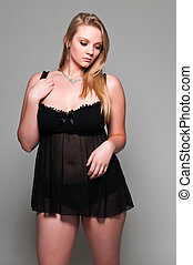 Blonde - Pretty young plus size blonde in a black babydoll