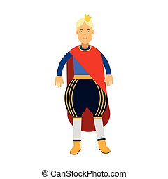 Blonde prince in red mantle and gold crown, fairytale or medieval character, colorful vector Illustration