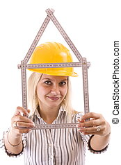 blonde repair woman - Sexy blonde engineer woman with a...