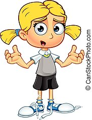 Blonde School Girl Character - A illustration of a cartoon...