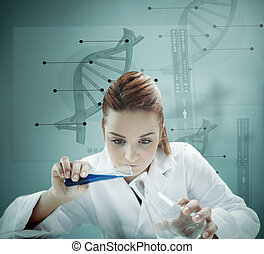 Blonde scientist working with futuristic interface and...