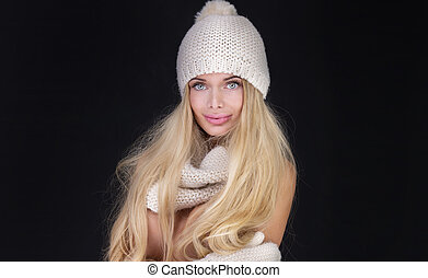 Blonde sexy woman in cap.