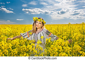 Blonde smiling in canola field