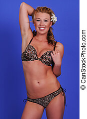 Blonde - Statuesque blonde woman in leopard print lingerie