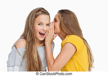 Blonde student whispering to her friend against white...