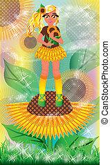 Blonde sunflower girl, vector