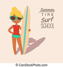 blonde surfing girl