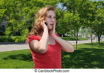 Blonde, talking on phone