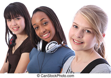 Blonde teenage student girl and ethnic friends