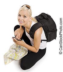 blonde , toerist, met, navigatiesysteem