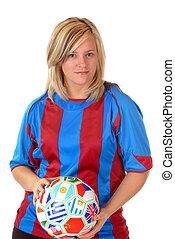 blonde, voetbal, meisje