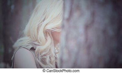 blonde, vrouw, bos, mooi